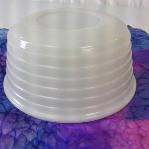 Vintage Ribbed Milk Glass Serving Bowl